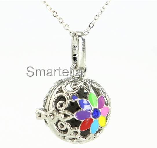 Silver Pendant with Color Flower